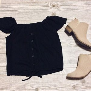 Madewell Black Off Shoulder Top Size XS